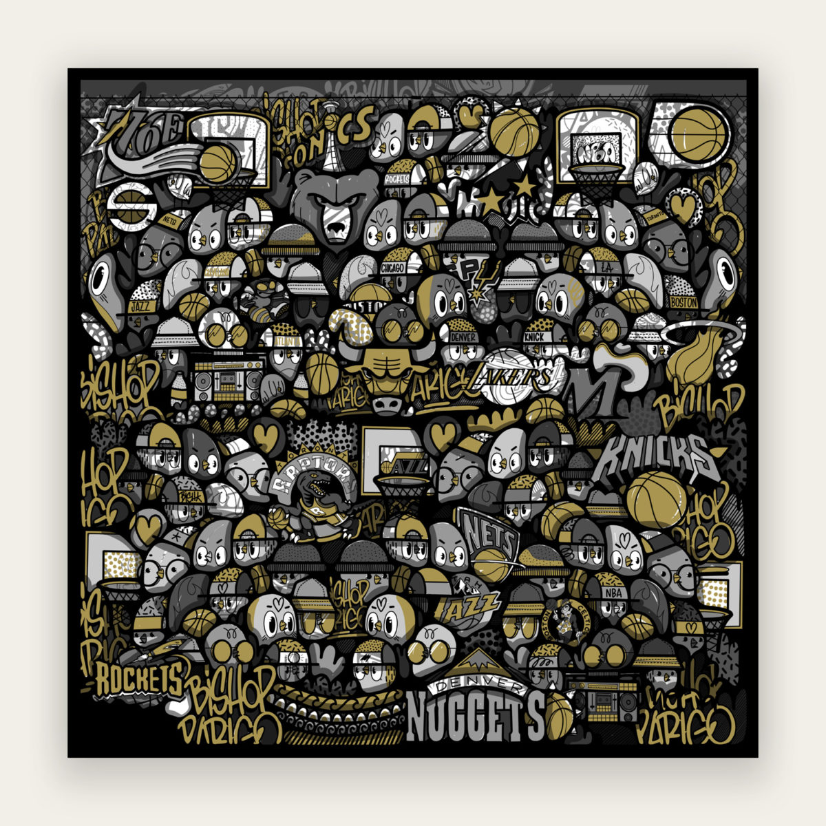 I Love Basket (Gold)